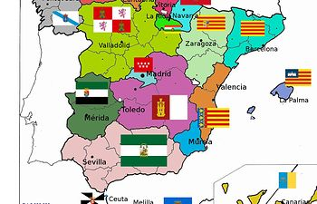 Mapa de España con sus comunidades autónomas.