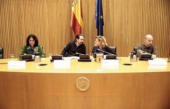 Pedro Arrojo, Mar Asunción, Pablo Iglesias, Monica Frassoni y Javier Gregori durante la clausura del Foro del Clima