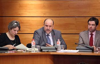 Toledo, 27-02-2017.- El vicepresidente del Gobierno regional, José Luis Martínez Guijarro, durante su comparecencia en la Comisión de Economía y Presupuestos en las Cortes de Castilla-La Mancha. (Foto: Álvaro Ruiz // JCCM)