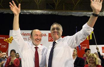 Rubalcaba y Pere Navarro, en Badalona