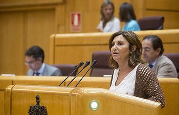Pilar Garrido, senadora por Gipuzkoa y secretaria de Políticas Sociales de Podemos FOTO: Irene Lingua