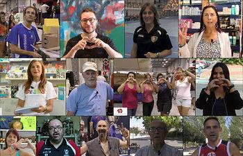 Algunos de los participantes en la campaña 'Me gusta Azuqueca'. Abajo postal que están recibiendo las vecinas y los vecinos en sus domicilios.