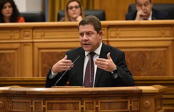 Emiliano García-Page en el segundo Debate del Estado de la Región.