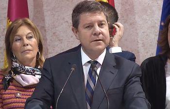 El presidente de Castilla-La Mancha, Emiliano García-Page , inaugura el stand institucional de CLM en la XXXIX edición de FITUR. Foto: Twitter @gobjccm