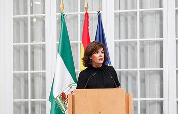 La vicepresidenta del Gobierno, preside, en la Delegación del Gobierno en Andalucía, en Sevilla, una jornada de trabajo con los delegados y subdelegados del Gobierno de toda España.