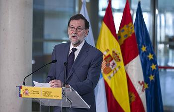 El presidente del Gobierno, Mariano Rajoy, durante su intervención en el acto de inauguración oficial de la sede de la Dirección Provincial de la Tesorería y del Instituto Nacional de la Seguridad Social en Segovia.
