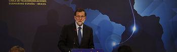 El presidente del Gobierno, Mariano Rajoy, interviene durante el acto de lanzamiento del cable de telecomunicaciones submarino, que conectará directamente Iberoamérica con Europa vía Lisboa.