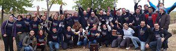 Un grupo de Voluntarios Telefónica en un momento de la Jornada en Cabanillas del Campo.