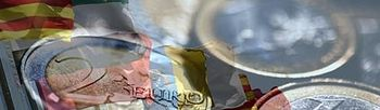 Banderas autonómicas y monedas de euro