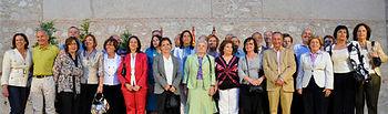 Carmen Sancho y Rosa Romero en el acto de homenaje a los maestros