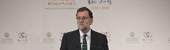 El presidente del Gobierno en funciones, Mariano Rajoy, durante su intervención en la reunión de la Comisión Interinstitucional para la conmemoración del VIII centenario de la creación de la Universidad de Salamanca. Pool Moncloa / Diego Crespo