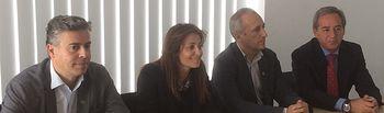 Juan Francisco Jerez, Rosa González y Julian Garijo, han asistido este jueves a la clausura de la Asamblea de Solimat en la sede de Feda