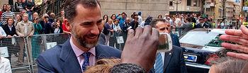 S.A.R. El Príncipe de Asturias, D. Felipe, durante su visita al Ayuntamiento de Albacete.