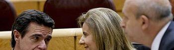 Los ministros Soria, Báñez y Wert en la sesión de control al Gobierno en el Senado (Foto: EFE)