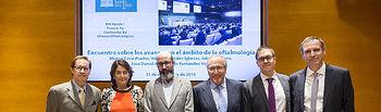La Fundación Rafael del Pino acoge el encuentro sobre los avances en el ámbito de la oftalmología. Con Miguel COca-Prados, Héctor Gonzalez Iglesias, Julio Escribano, Jose Daniel Aroca y Luis Fernández-Vega. En Madrid el 21 de noviembre de 2016.