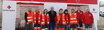 Algunos de los miembros de Cruz Roja Almodóvar que van a participar en el despliegue de la Feria de Marzo.