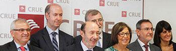 Alfredo Pérez Rubalcaba con los representantes de los Rectores