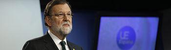 El presidente del Gobierno, Mariano Rajoy, durante la rueda de prensa ofrecida al término del Consejo Europeo.