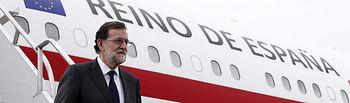 El presidente del Gobierno, Mariano Rajoy, a su llegada al Aeropuerto Internacional Carrasco-General Cesáreo L. Berisso de Montevideo, donde comenzará su visita oficial a Uruguay.