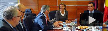 Cospedal en Albacete, donde se ha reunido con la Junta Directiva de ADECA (Asociación de Empresarios de Campollano)