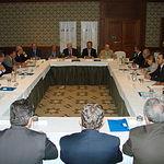 Los Consejeros de Globalcaja durante el proceso de la escritura de constitución de la Entidad.