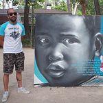 Fotografía del graffiti  de XOLAKA, en la III Edición de la Exhibición de Graffiti de Cruz Roja en Albacete.