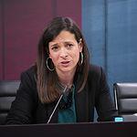 Raquel Ruiz, diputada provincial de Turismo durante la presentación de  los actos programados con motivo del Día de Albacete en Fitur 2018.