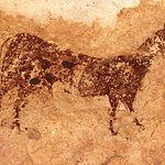 La presencia de animales es notoria en las pinturas del Abrigo Grande de Minateda. En la imagen un caballo.