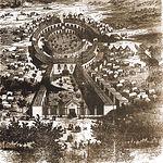 """Dibujo del recinto ferial de Albacete, conocido como """"La Sartén"""", realizado en el siglo XIX."""