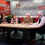 Toñi Martínez, secretaria de la UCE en Albacete, Nieves Roncero, presidenta de la UCE en Albacete, José María Roncero, socio fundador y expresidente de la UCE en Albacete, y Manuel Lozano, director del Grupo Multimedia de Comunicación La Cerca.