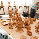 Aula de Escultura en la Universidad Popular de Albacete.