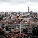 Concentración en la Plaza de Colón contra la negociación política realizada por el Gobierno central con la Generalitat de Cataluña. Foto: Twitter Ciudadanos @CiudadanosCs