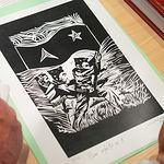 Grabado de Juan Miguel Rodríguez Cuesta, entregado a los Familiares y Amigos de brigadistas que participaron en las Brigadas Internacionales