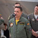 Entrenamiento avanzado conjunto de aviones caza F-22 Raptor y Eurofighter en la Base Aérea de Los Llanos