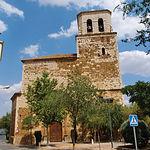 Iglesia parroquial de Nuestra Señora de la Asunción, en Santa Cruz de Mudela (Ciudad Real), con detalle de la portada.