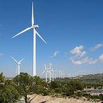El uso de las energías renovables, en sustitución de las provenientes de combustibles fósiles, constituye uno de los pilares fundamentales para reducir las emisiones de carbono. Foto: Parque eólico.
