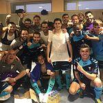 Partido Lugo - Albacete - 23-03-19. Los jugadores del Alba celebrando su triunfo en el vestuario tras el partido.