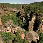El río Gallo presenta grandes cortados a su paso, como el de la imagen, llamado Barranco de la Hoz.