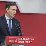 Pedro Sánchez (PSOE) durante su presencia para informar de la moción de censura a Mariano Rajoy (PP) - 25-05-18
