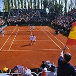 Aspecto de la pista central en la eliminatoria de la Copa Davis en el año 2001.