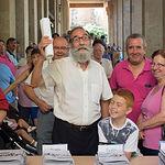 Valeriano Belmonte ofreciendo sus tradicionales versos antes de la entrega del programa de  la Feria de Albacete 2015.