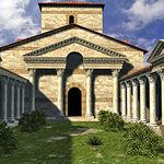 Simulación por ordenador del peristilo o patio columnado de la Basílica o Palatium.