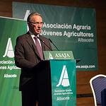 Carlos de la Sierra, presidente de Globalcaja, en la Asamblea General Ordinaria de ASAJA Albacete