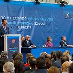 SS.AA.RR. Los Príncipes de Asturias, D. Felipe y Dña. Letizia, junto a José María Barreda, presidente de Castilla-La Mancha, y Ángel Gabilondo, Ministro de Educación, durante la inauguración del el curso escolar de FP 2010-2011, en el Centro Integrado de Formación Profesional Aguas Nuevas.