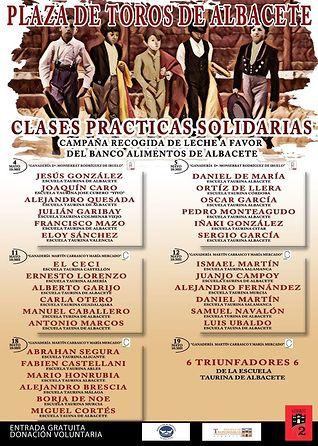 Cartel clases prácticas taurinas de Albacete.