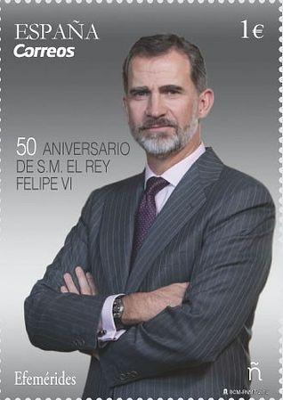 Correos emite un sello con motivo del 50 aniversario de S.M. el Rey Felipe VI