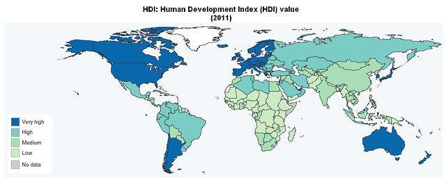 Gráfico 2: IDH del 2011. Fuente: Programa para el desarrollo de las Naciones Unidas.