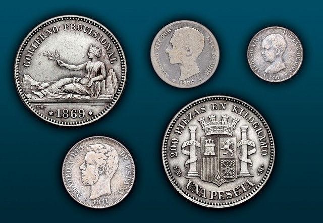 Tras la primera peseta de 1869, en los años sucesivos se acuñaron monedas alusivas a las casas reinantes en España.