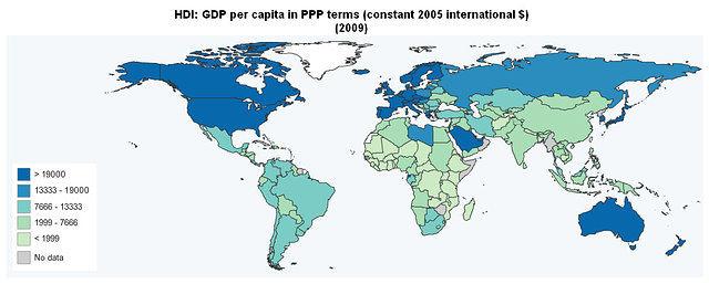 Gráfico 1: PIB per cápita, PPP, dólares constantes de 2005, datos de 2009. Fuente: Programa para el desarrollo de las Naciones Unidas.