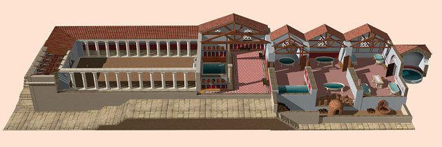 Imagen virtual de las termas de Segóbriga.